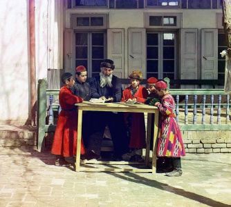 Jewish boys in traditional dress study with their teacher. Samarkand, 1911. Thanks to the authors of these photos (c) Sergey Prokudin-Gorskiy